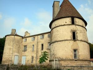 Château des Martinanches - Keep, tower and facade of the castle; in Saint-Dier-d'Auvergne