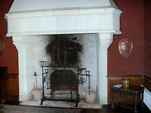 Château du Plessis-Macé - Inside of the Château (lodge): fireplace