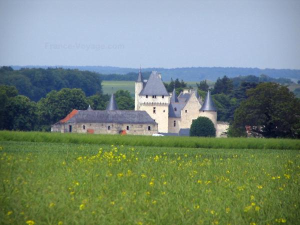 Château du Rivau - Field in foreground, castle and trees