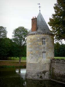 Château de Sully-sur-Loire - Tower, moats (la Sange) and park planted with trees