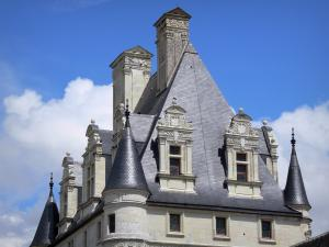 Château de Valençay - Turrets, dormers and windows of the Renaissance keep