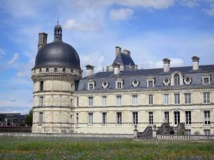 Château de Valençay - Corner tower and facade of the Classical-style château, patchwork of meadow flowers (park) in the foreground