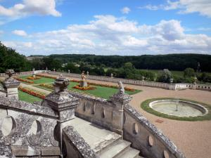 Château de Valençay - Stairs overlooking the Duchess garden and the surrounding landscape