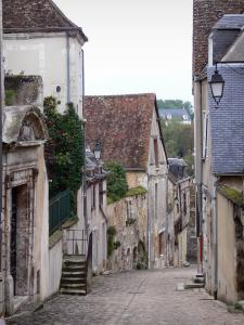 Châteaudun - Sloping narrow paved street (Saint-Lubin street) of the old town lined with houses