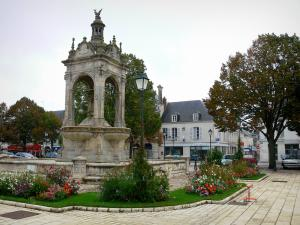 Châteaudun - Monumental fountain of the 18-Octobre square, lamppost, flowers, trees and houses