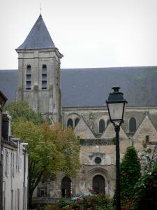 Châteaudun - Madeleine church with its bell tower, lamppost, facade of house, flowers and trees
