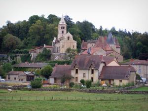 Châteauneuf - Romanesque church, castle, houses, meadows and trees; in Brionnais