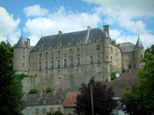 Châteauneuf-sur-Cher - Castle and houses of the city, clouds in the sky
