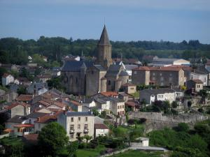 Châteauponsac - Saint-Thyrse church and houses of the old town, in Basse-Marche (Gartempe valley)