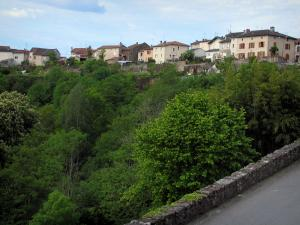 Châteauponsac - View of the houses of the city and trees, in Basse-Marche (Gartempe valley)