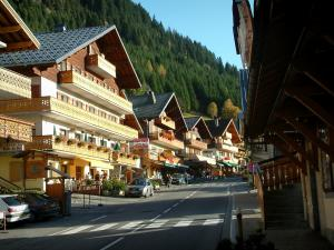 Châtel - Shopping street with shops and chalets, spruce forest, in Chablais