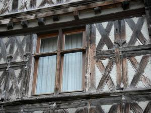 Châteldon - Window of a half-timbered house in the medieval village