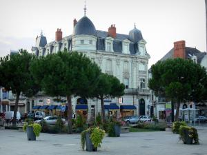 Châtellerault - Buildings and shops in the city, trees and flowers