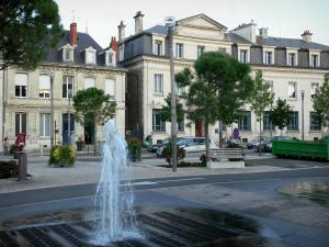 Châtellerault - Fountain, trees and buildings of the city