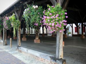 Châtillon-sur-Chalaronne - Wooden covered market hall with flowers