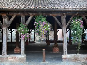 Châtillon-sur-Chalaronne - Covered market hall with suspended flowers
