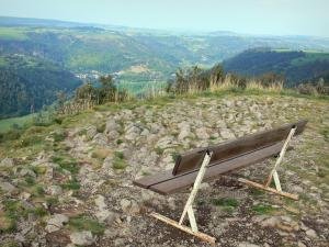 Chaudefour valleys - From the Aigle rock, bench overhanging the valley; in the Auvergne Volcanic Regional Nature Park in the Massif du Sancy mountains (Monts Dore)