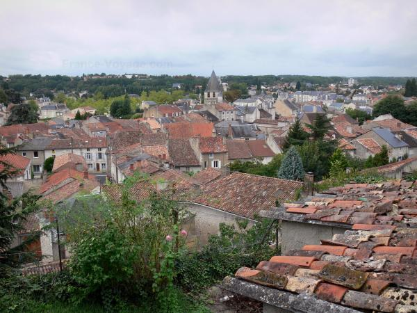 Chauvigny - View of the roofs of the city and bell tower of the Notre-Dame church