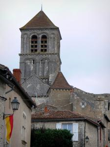 Chauvigny - Bell tower of the collegiate church Saint Pierre ( Romanesque church) and the houses of the upper town