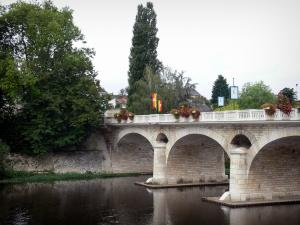 Chauvigny - Flower-covered bridge spanning the River Vienne, trees
