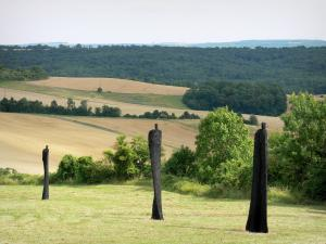 Chemin des Dames - Sculptures of the Constellation of Pain by artist Christian Lapie, near the Dragon's Lair, view of the surrounding landscape