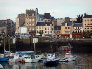 Cherbourg-Octeville - Port with its boats, shops, houses and buildings of the city