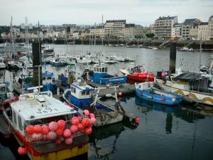 Cherbourg-Octeville - View of the port and its fishing and sailing boats, and buildings of the city