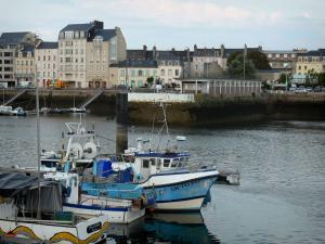 Cherbourg-Octeville - Boats in the port, houses and buildings of the city