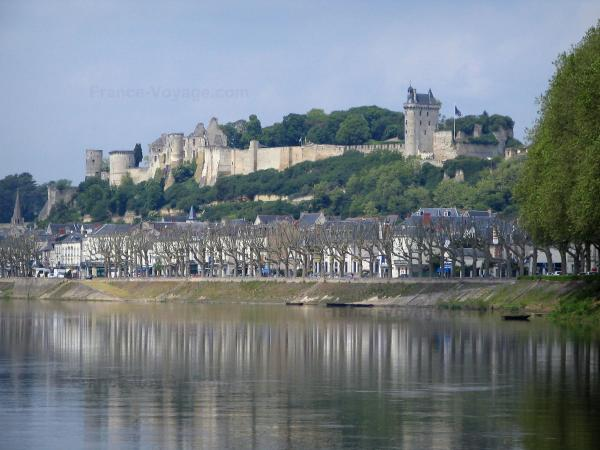 Chinon - Castle and its ramparts dominating the houses of the old town and the River Vienne