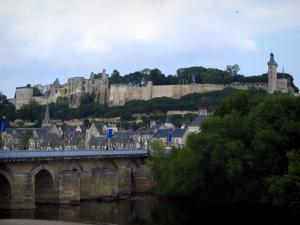 Chinon - Bridge spanning the River Vienne, trees, houses of the old town and castle (medieval fortress) overhanging the set