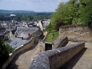 Chinon - Houses of the old town and path leading to the castle