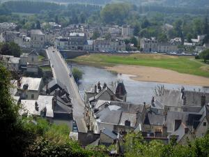 Chinon - Houses of the city, bridge and the River Vienne