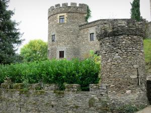 Chouvigny castle - Crenellated towers of the medieval fortified castle; in the Sioule valley (Sioule gorges)