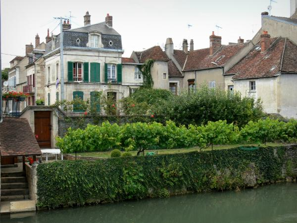 Clamecy - Facades of houses and gardens on the banks of River Beuvron