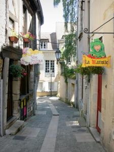 Clamecy - Alley in the old town with its facades of flower-bedecked houses and shop signs