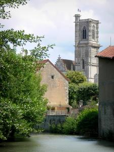 Clamecy - Tower of the Saint-Martin collegiate church, houses and trees along the water
