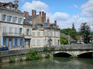 Clamecy - Bridge spanning River Beuvron and facades of houses in the town
