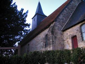 Clermont-en-Auge chapel - Chapel, tree and shrubs in the Pays d'Auge area