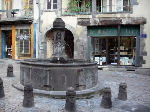 Clermont-Ferrand - Fountain, shops and houses of the Terrail square