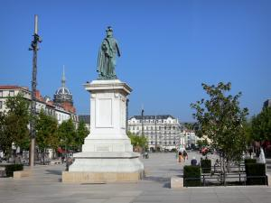 Clermont-Ferrand - Jaude square: statue of General Desaix, square with trees and buildings of the city