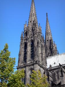 Clermont-Ferrand - Steeple of the Notre-Dame-de-l'Assomption cathedral of Gothic style made of lava stone