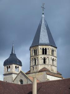 Cluny abbey - Benedictine abbey: the Eau Bénite bell tower and the Clock tower (remains of the Saint-Pierre-et-Saint-Paul abbey church)