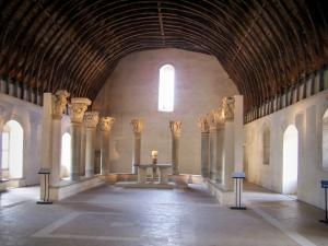 Cluny abbey - Benedictine abbey: inside of Farinier (Gothic building): room topped by a wooden roof structure and home to capitals of the abbey church