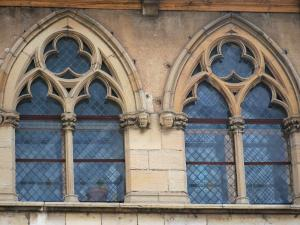 Cluny abbey - Benedictine abbey: Gothic windows of the facade of the Gélase pope