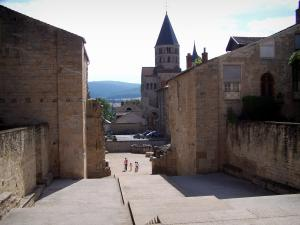 Cluny abbey - Benedictine abbey: squares, remains of the Barabans towers and front nave (narthex) of the Saint-Pierre-et-Saint-Paul abbey church, and the Eau Bénite bell tower in background