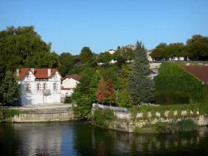 Cognac - Charente river, houses and trees
