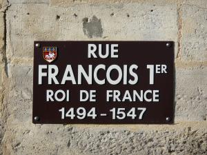 Cognac - Signboard of the François I street