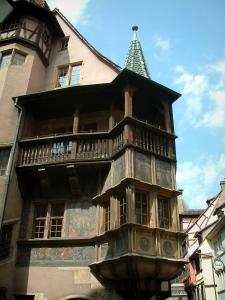 Colmar - Pfister house with its painted facade, its oriel angle window with two floors and its wooden gallery