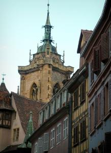 Colmar - Houses with colourful facades and the tower of the Saint-Martin collegiate church