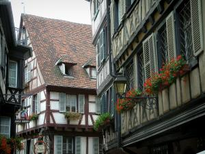 Colmar - Timber-framed houses and windows decorated with geranium flowers